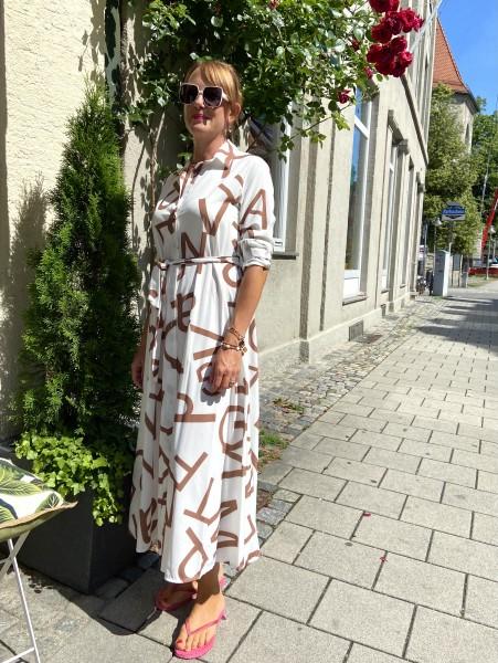Hailey Dress Weiß/Zimt